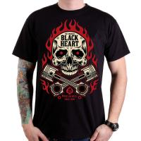 BLACK HEART FLAMES SKULL