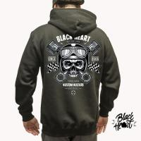 BLACK HEART PISTON SKULL ZIP